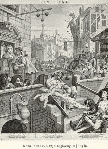 Gin Lane by Hogarth, 1751. It depicts the social dissonance caused by the availability of cheap gin. (He believed in beer, though...)