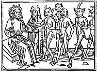 A woodcarving of Belial and some of his followers from Jacobus de Teramo's book Buche Belial (1473)