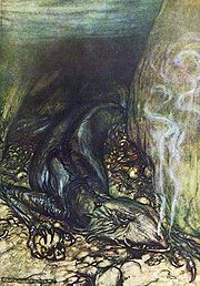 Fafnir as a Lindwurm, from Arthur Rackham's illustrations for Wagner's Siegfried.