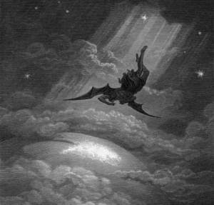 One of Gustave Dore's illustrations for Milton's Paradise Lost. Lucifer thrown from heaven