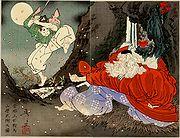 Yoshitoshi_Sojobo_Instructs_Yoshitsune_in_the_Sword